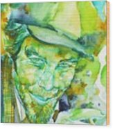 Tom Waits - Watercolor Portrait.5 Wood Print