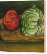 Tomato And Cabbage Oil Painting Canvas Wood Print