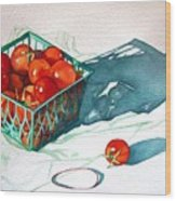 Tomato Basket Wood Print