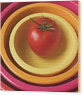 Tomato In Mixing Bowls Wood Print