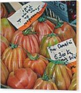 Tomatoes At Market Wood Print