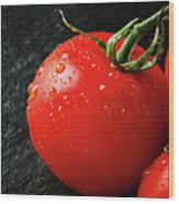 Tomatoes Close Up On Black Slate Wood Print