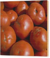 Tomatoes Sit In The Sun Awaiting Buyers Wood Print