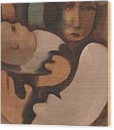 Abstract Mother And Baby Art Print Wood Print