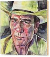 Tommy Lee Jones Portrait Watercolor Wood Print