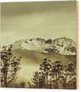 Toned View Of A Snowy Mount Gell, Tasmania Wood Print