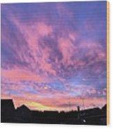 Tonight's Sunset Over Tesco :) #view Wood Print