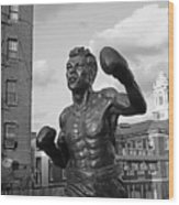 Tony Demarco Boxer Statue North End Boston Ma Sunset Black And White Wood Print