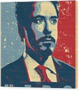Tony Stark Wood Print by Caio Caldas