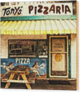 Tony's Pizzaria Wood Print by Ron Regalado