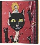 Too Many Black Cats Wood Print