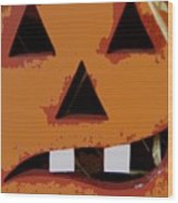 Toothy Pumpkin Wood Print
