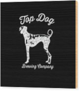 Top Dog Brewing Company Tee White Ink Wood Print