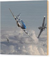 Top Gun - 1944 Version - P51 V Bf109g Wood Print