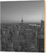 Top Of The Rock At Sunset Bw Wood Print