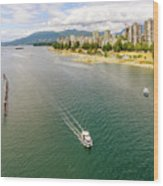 Top View Of English Bay In Summer, Vancouver Bc. Wood Print