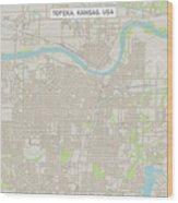 Topeka Kansas Us City Street Map Wood Print