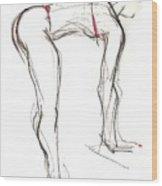 Topknot - Female Nude Wood Print