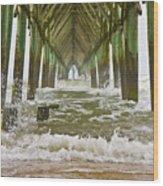 Topsail Island Pier Wood Print