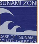 Topsail Island's Tsunami Zone Sign Wood Print