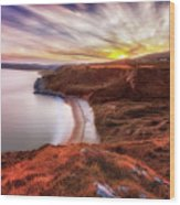 Tor Bay Sunset Wood Print