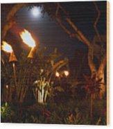 Torches Of Hawai Wood Print