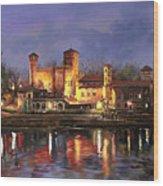 Torino-il Borgo Medioevale Di Notte Wood Print