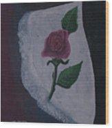 Torn Canvas Rose Wood Print