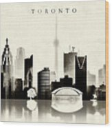 Toronto Black And White Wood Print