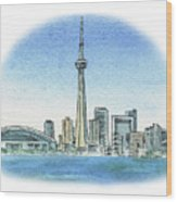 Toronto Canada City Skyline Wood Print