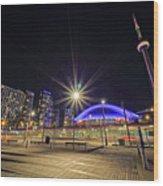 Toronto Harbourfront Street Car Light Trails Wood Print