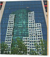 Toronto Metro Hall Reflected In The Cbc Building Wood Print