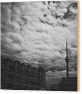 Toronto Morning Black And White Wood Print