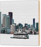 Toronto Portlands Skyline With Island Ferry Wood Print