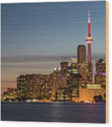Toronto Skyline At Dusk Wood Print