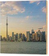 Toronto Skyline At Sunset Wood Print