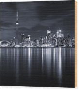 Toronto Skyline Monochrome Wood Print