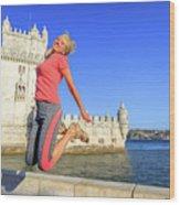 Torre De Belem Jumping Wood Print