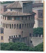 Torre San Giovanni St Johns Tower On The Ramparts Of The Walls Of The Vatican City Rome Wood Print