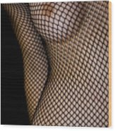 Torso In Fish-net Wood Print