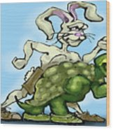 Tortoise And The Hare Wood Print