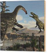 Torvosaurus And Apatosaurus Dinosaurs Fighting - 3d Render Wood Print