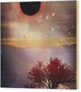 Total Eclipse Of The Sun Tree Art Wood Print