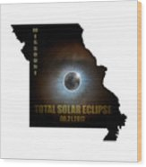 Total Solar Eclipse In Missouri Map Outline Wood Print