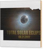 Total Solar Eclipse In Nebraska Map Outline Wood Print