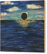 Totality On The Sea - Solar Eclipse  Wood Print