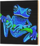 Totally Blue Frog On A Vine Wood Print