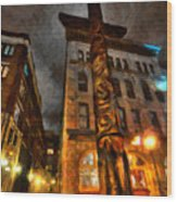 Totem In The City Wood Print
