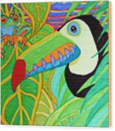 Toucan And Red Eyed Tree Frog Wood Print