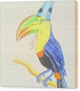 Toucan With  Party Hat Wood Print